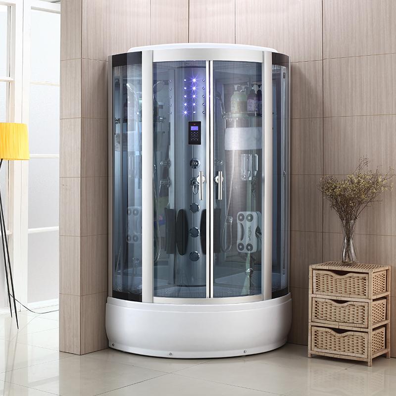 洁麦钢化玻璃弧扇形整体淋浴房 蒸汽房 家用沐浴房卫生间洗澡浴室