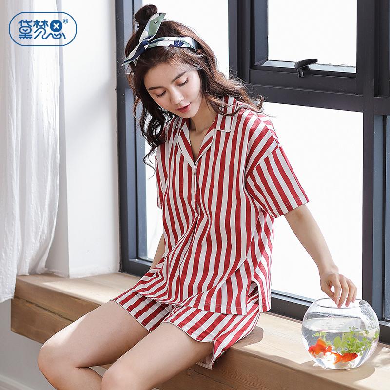纯棉女士睡衣夏韩版红色竖条纹少女短袖家居服时尚可外穿全棉套装