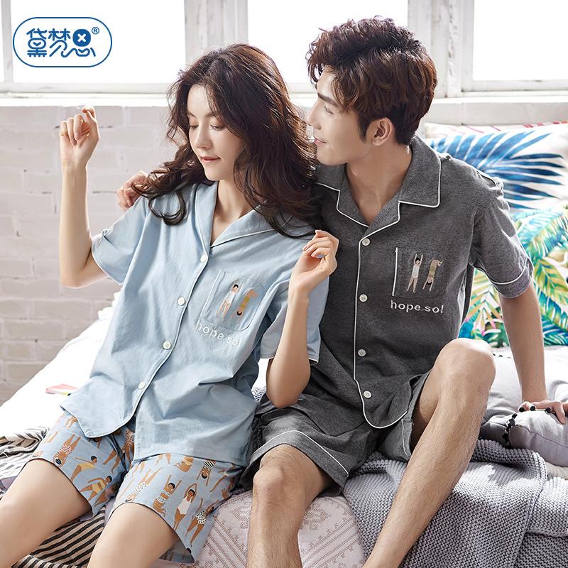 可爱情侣睡衣夏季纯棉短袖少女韩版可外穿全棉开衫女家居服男套装