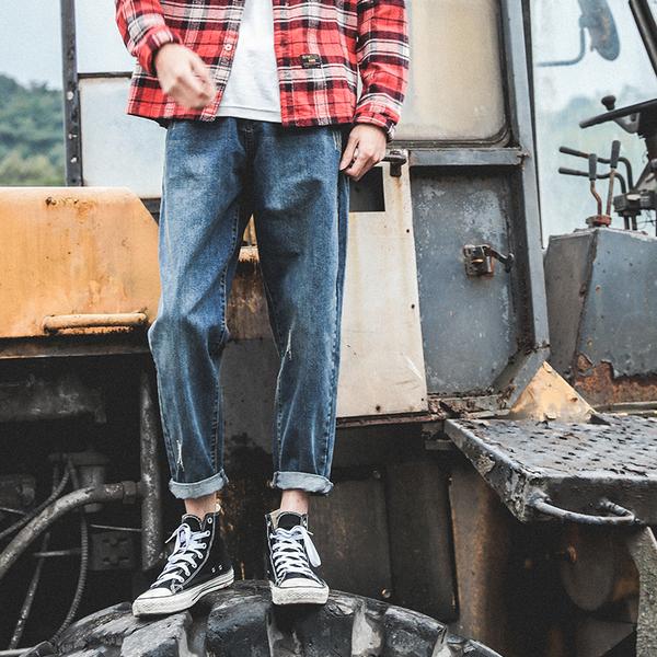 LMTNZD秋冬季牛仔裤男士直筒韩版潮百搭港风蓝色显瘦宽松小脚裤子