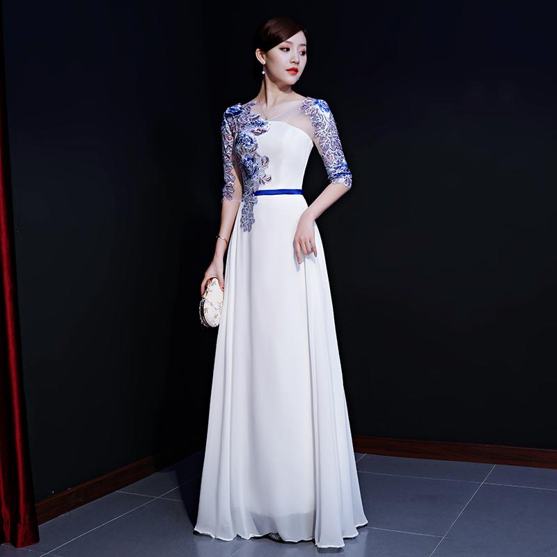 合唱团成人演出服女2018秋季新款表演晚礼服长款显瘦主持人连衣裙