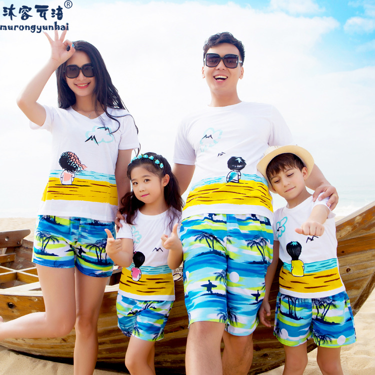 Seaside resort clothing beach parent-child loaded four summer XL plus fat three female summer beach suit men