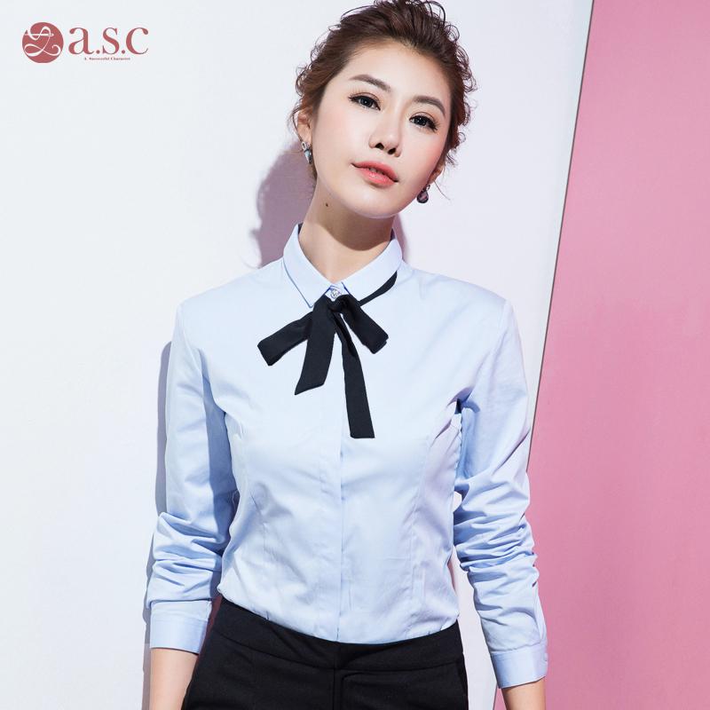 艾尚臣秋季白衬衫女长袖韩版修身显瘦OL大码工作服职业衬衣工装