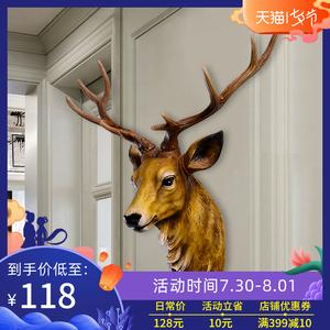 仿真鹿头壁挂动物头壁饰欧式复古创意玄关客厅玄关背景墙面装饰品