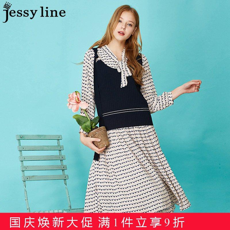 jessyline 2018春装新款 杰茜莱几何印花时尚休闲针织套装连衣裙