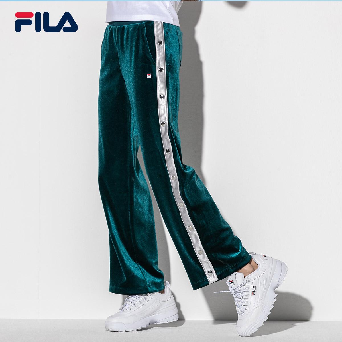 FILA斐乐女长裤2018秋季新款时尚休闲潮流街头宽松针织运动长裤女