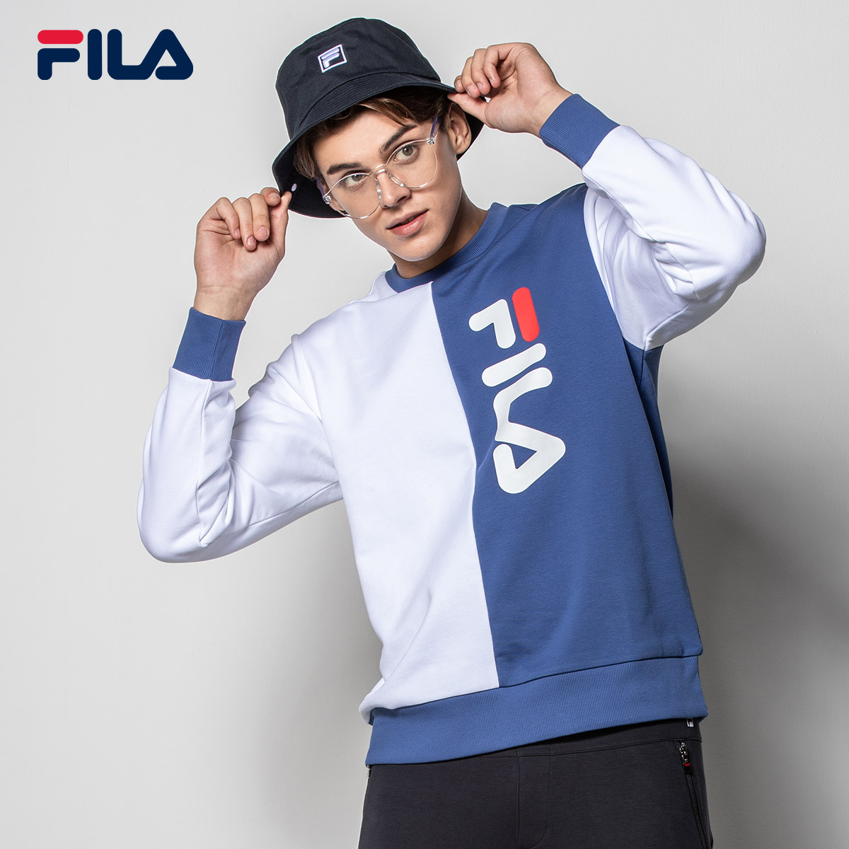 FILA斐乐卫衣男女同款2018冬季新品休闲运动上衣撞色套头衫男女