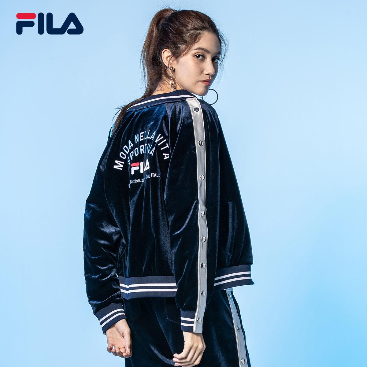 FILA斐乐外套女2018年秋季新款时尚运动休闲外套针织舒适上衣女