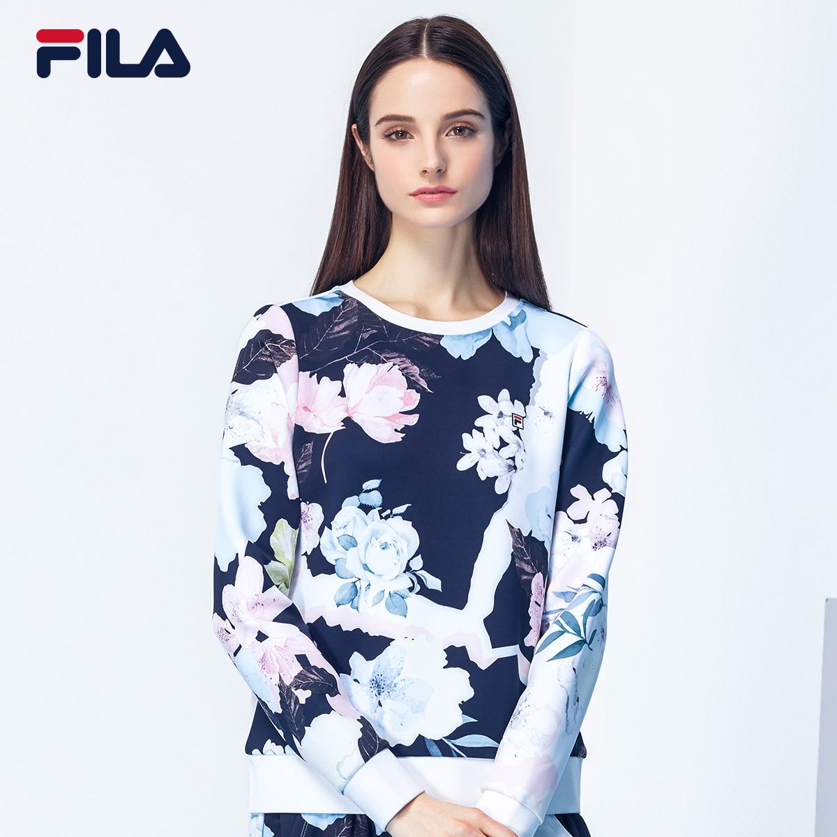 FILA斐乐女套头衫2018秋季简约大方时尚潮流休闲运动套头卫衣女