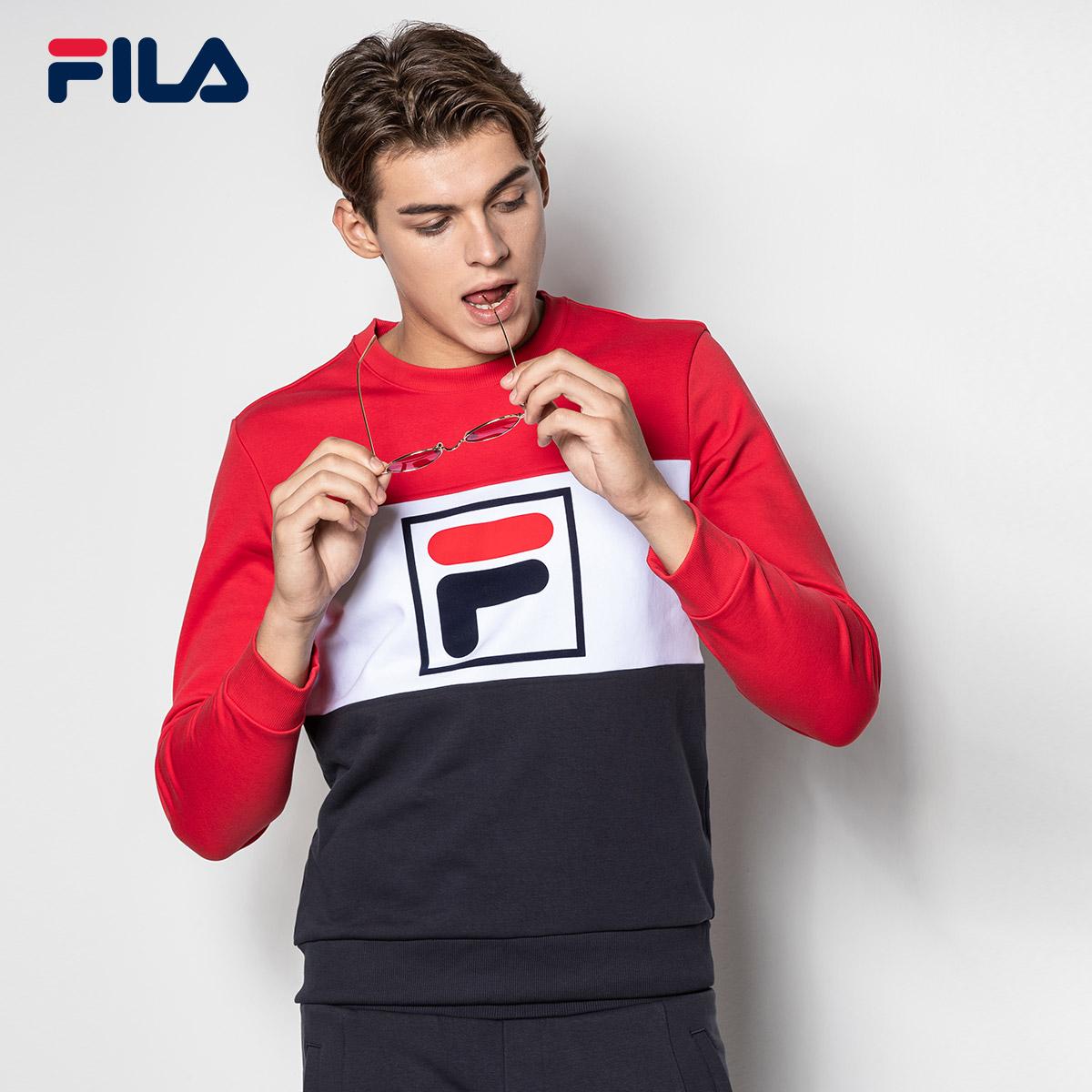 FILA斐乐男卫衣2018秋季新款针织LOGO运动休闲宽松套头卫衣男