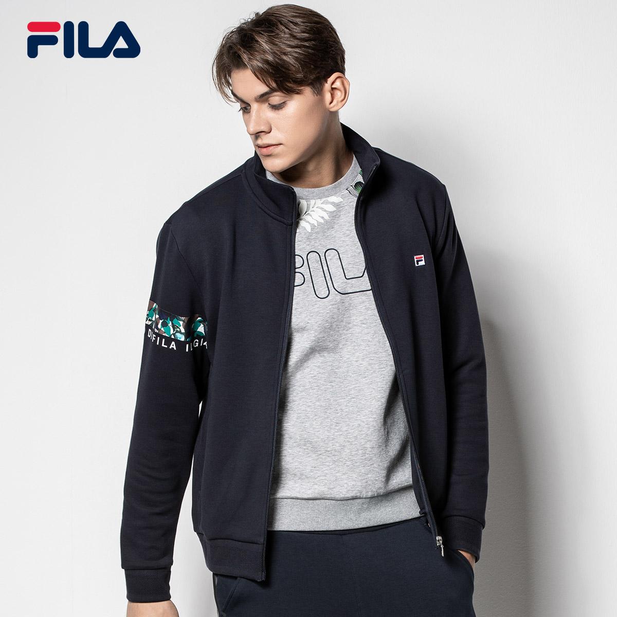 FILA斐乐外套男2018秋季新款针织透气运动休闲开衫上衣夹克男