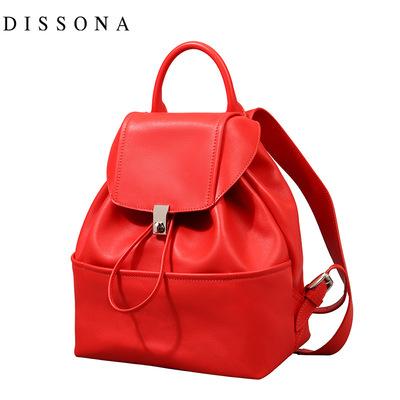 迪桑娜双肩包女真皮时尚新款软牛皮水桶手提包简约抽绳双肩大背包
