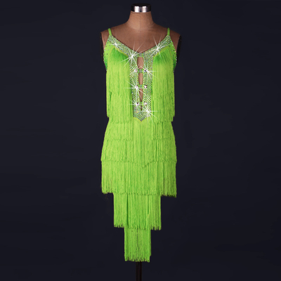 Latin Dance Dresses Women's Performance Spandex / Organza Beading / Tassel Sleeveless Natural Dress