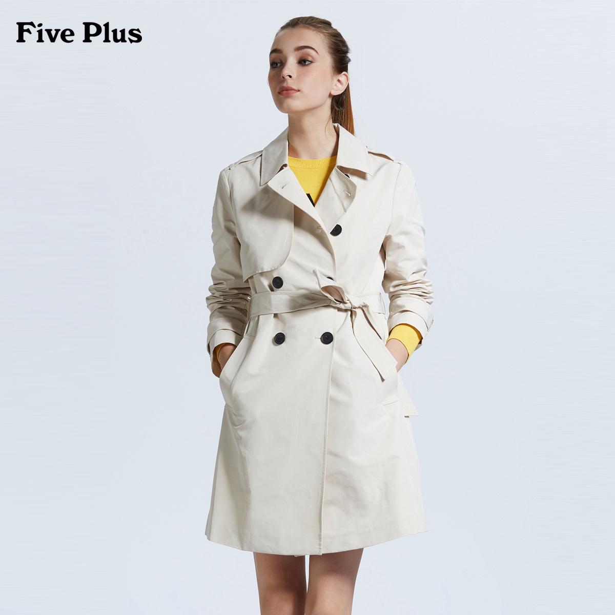 Five Plus2018新款女春装长款风衣女bf宽松长袖外套纯色棉质腰带
