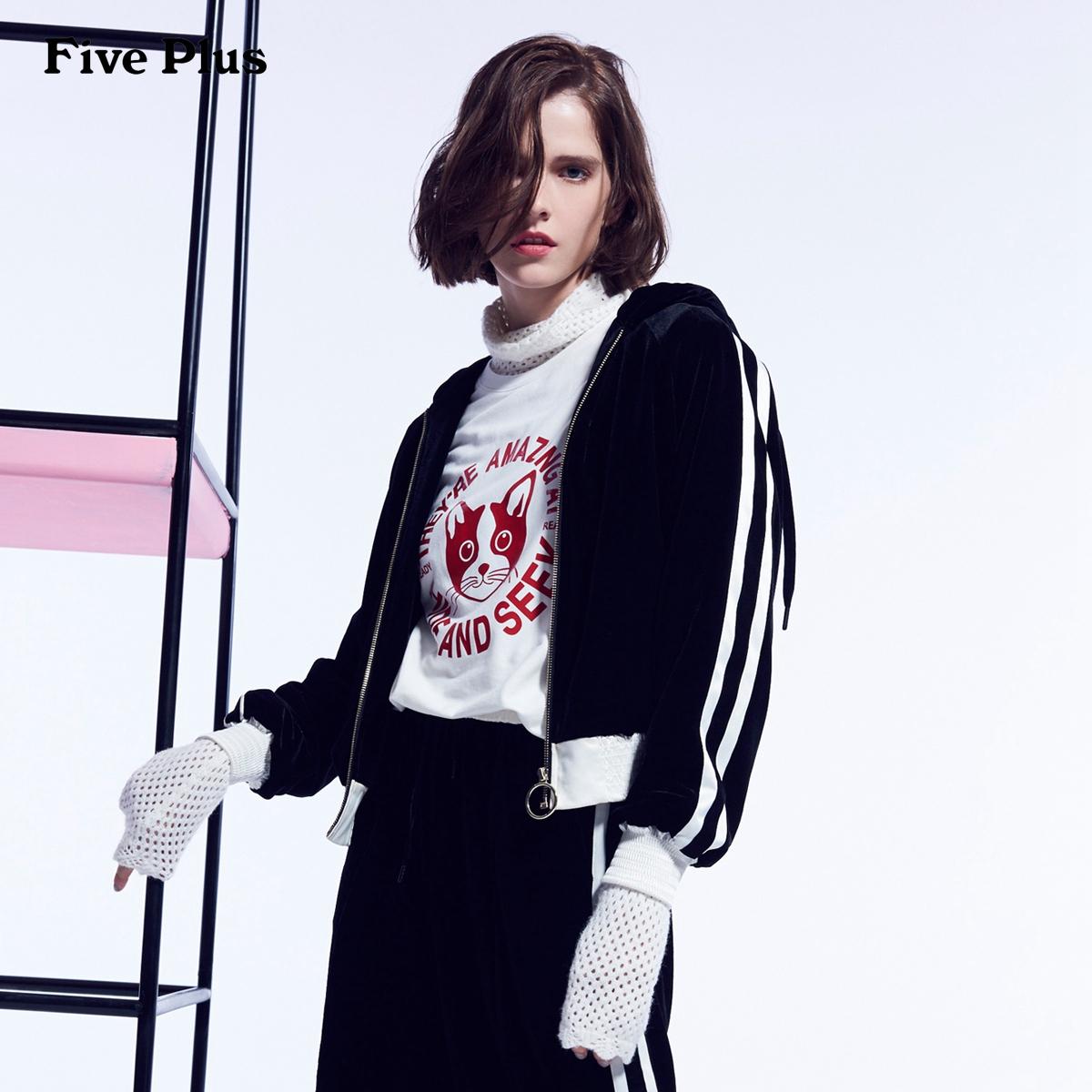 Five Plus2018新款女装卫衣运动服女条纹连帽丝绒外套潮长袖街头