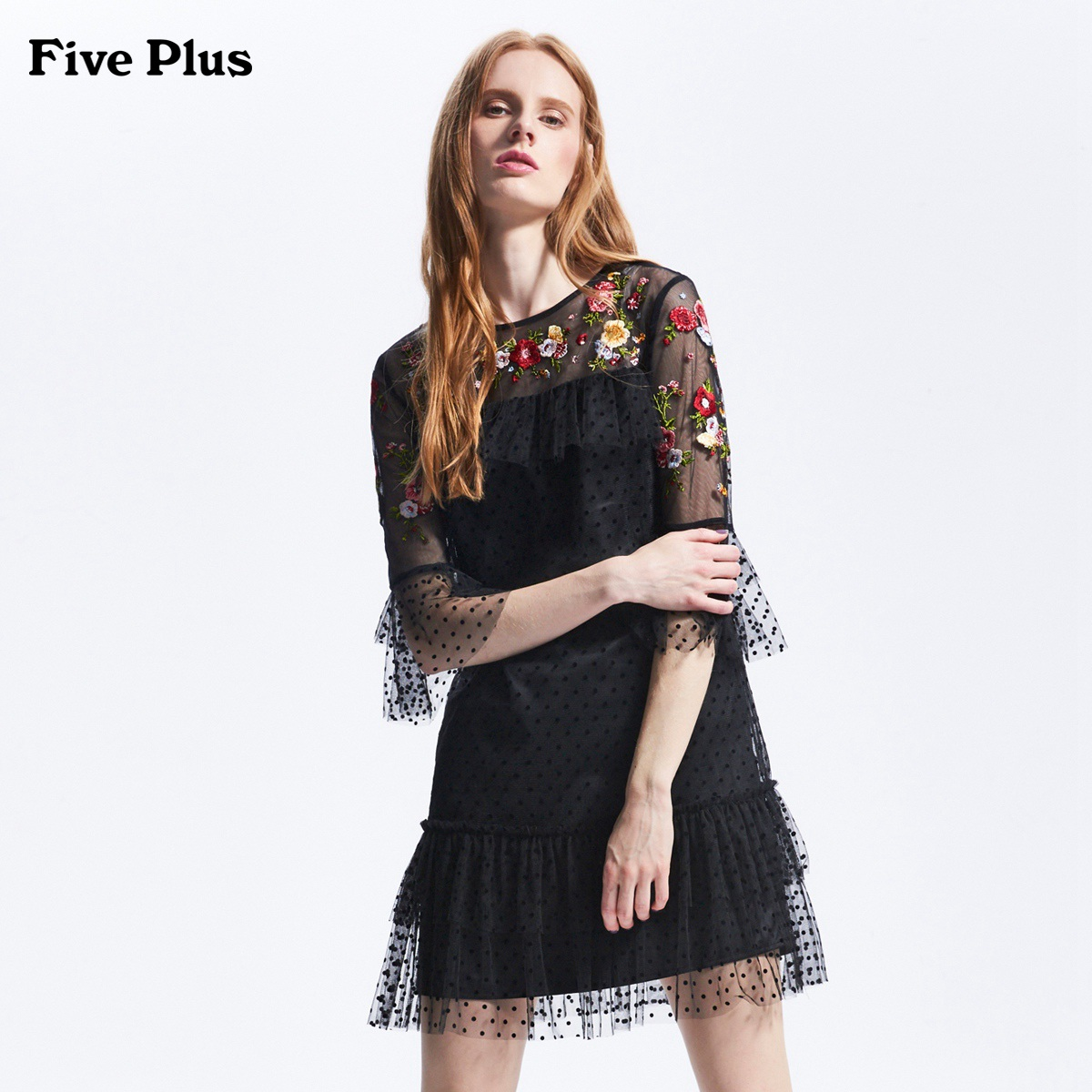 Five Plus2018新品女夏装中袖连衣裙宽松纱裙荷叶边刺绣图案圆点