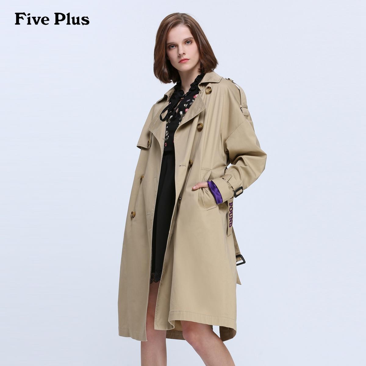 Five Plus2018新款女装刺绣字母风衣过膝长款潮棉质双排扣外套