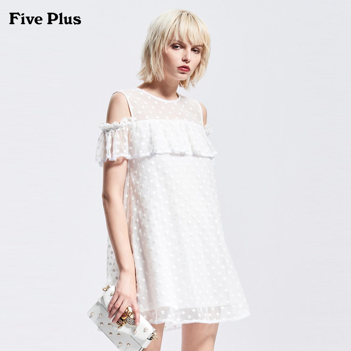 Five Plus2018新品女夏装碎花连衣裙露肩A字裙短袖宽松荷叶边纱裙