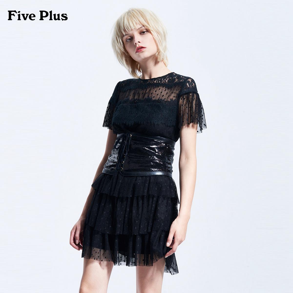 Five Plus2018新品女夏装拼接蕾丝连衣裙短袖透视波点纱裙荷叶边