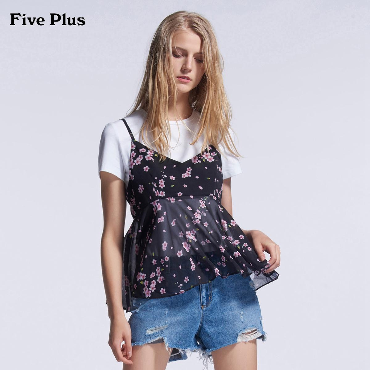 Five Plus2018新品女夏装雪纺衬衫吊带碎花两件套宽松V领绑带薄款