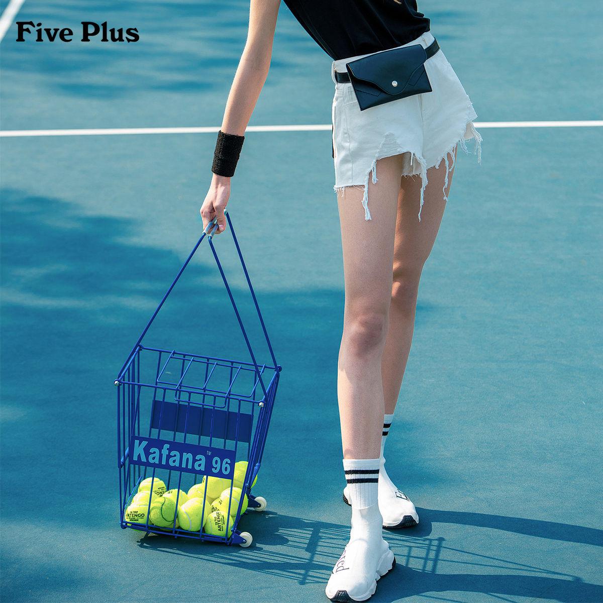 Five Plus2018新品女夏装破洞牛仔裤女毛边流苏宽松阔腿