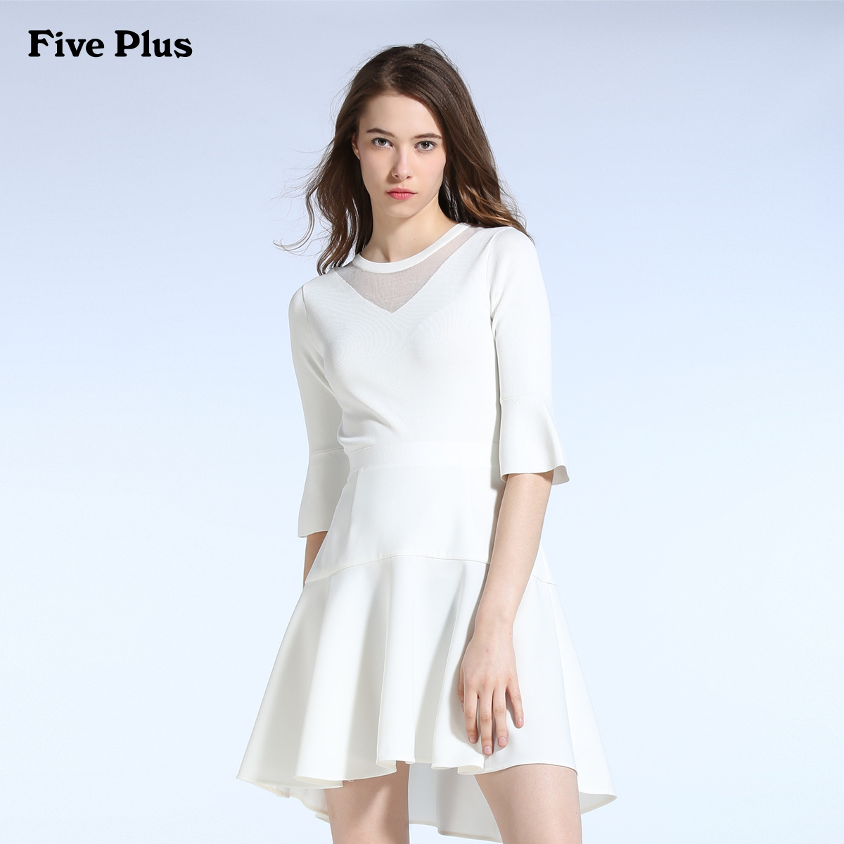 Five Plus新女夏装纯色拼接中腰喇叭袖连衣裙鱼尾裙2JM2083350