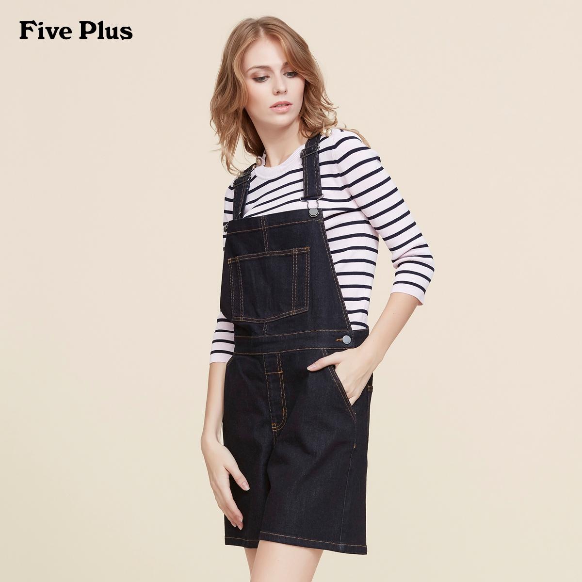 Five Plus新女夏装BF棉质宽松阔腿背带连体裤牛仔短裤2JM1064110