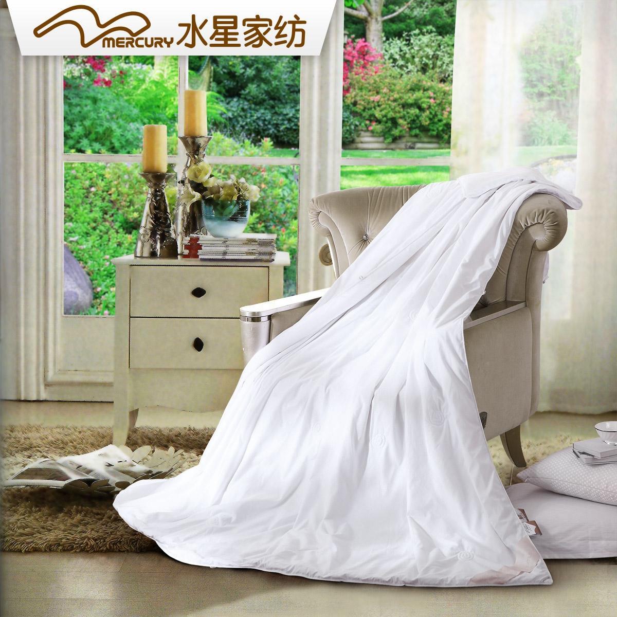 水星家纺100%桑蚕丝夏被芯空调薄被子桑蚕丝薄被子单双人床上用品
