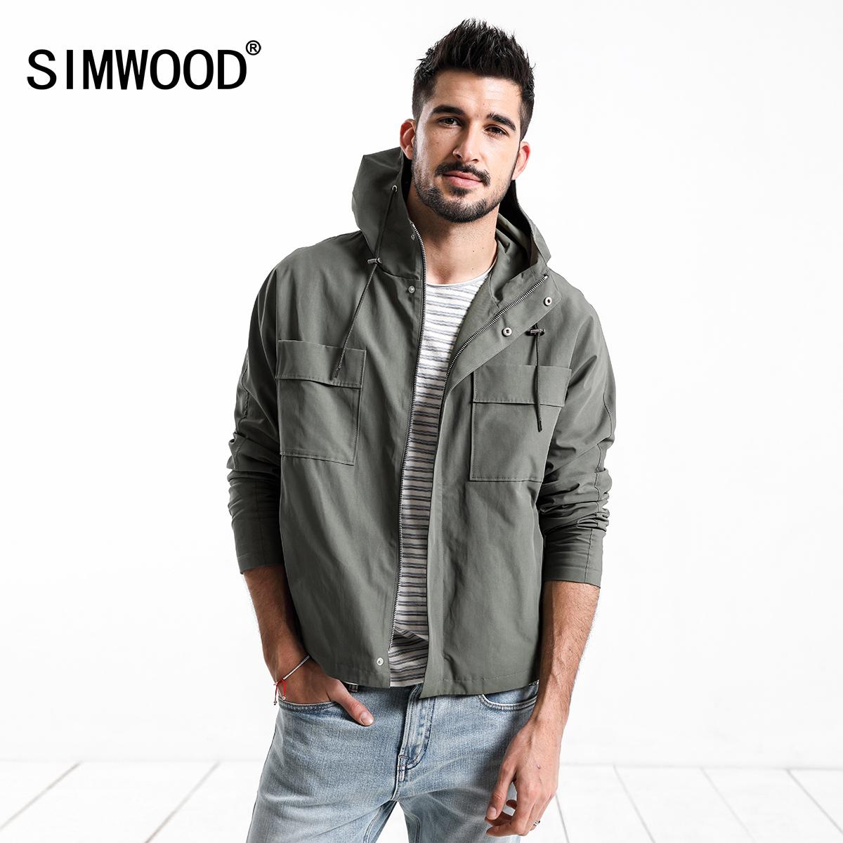 Simwood简木男装2018秋季亚博线上开户胸前口袋连帽薄款军绿修身夹克外套