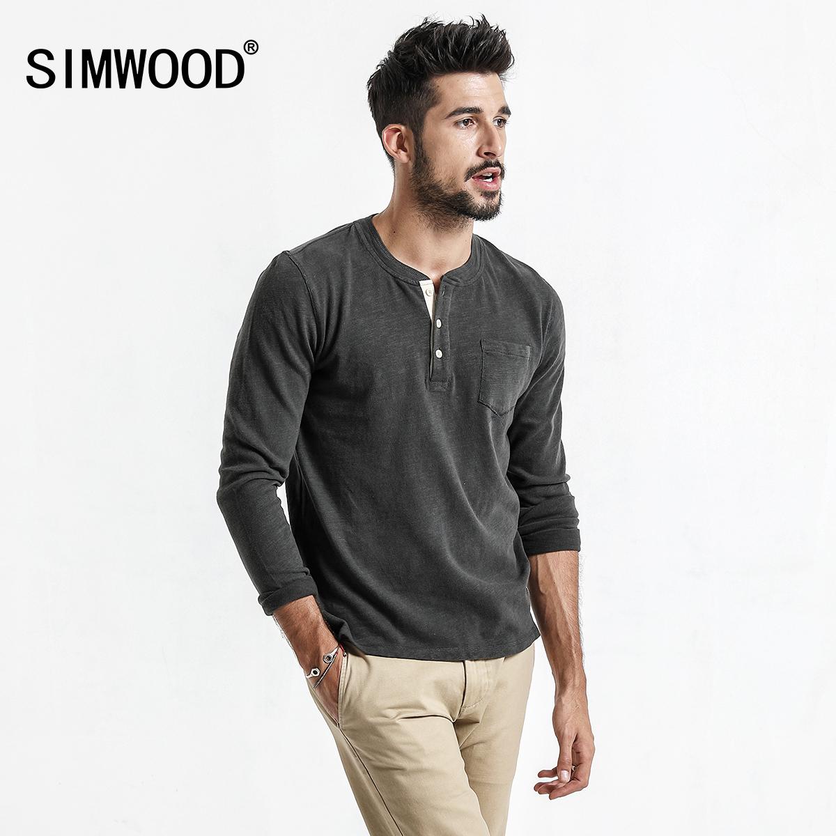Simwood简木男装2018春季亚博线上开户休闲门筒领胸口袋简约修身长袖T恤男