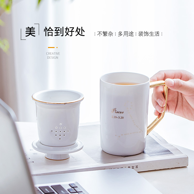 Separation filter tea cups hand - made sign mark cup of jingdezhen ceramic cup picking cups of coffee cup