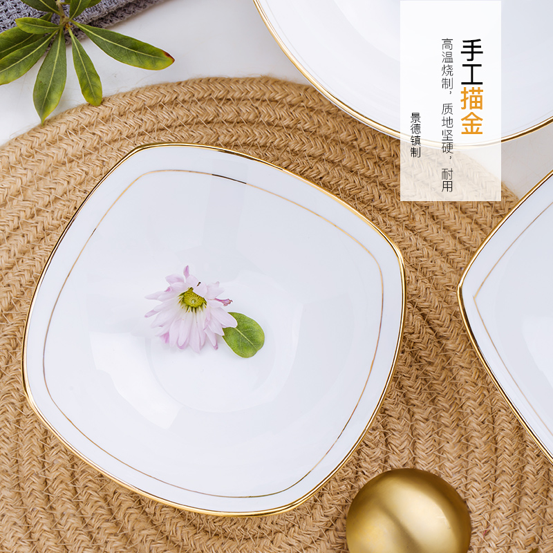 Jingdezhen ceramic tableware creative home pure white contracted bowl of soup bowl of salad bowl size up phnom penh newborn dishes