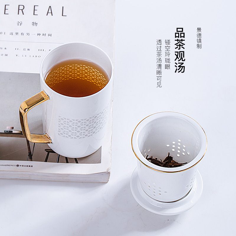 Jingdezhen ceramic see colour and exquisite hand - made filtration separation cups with cover the tea cups of tea keller