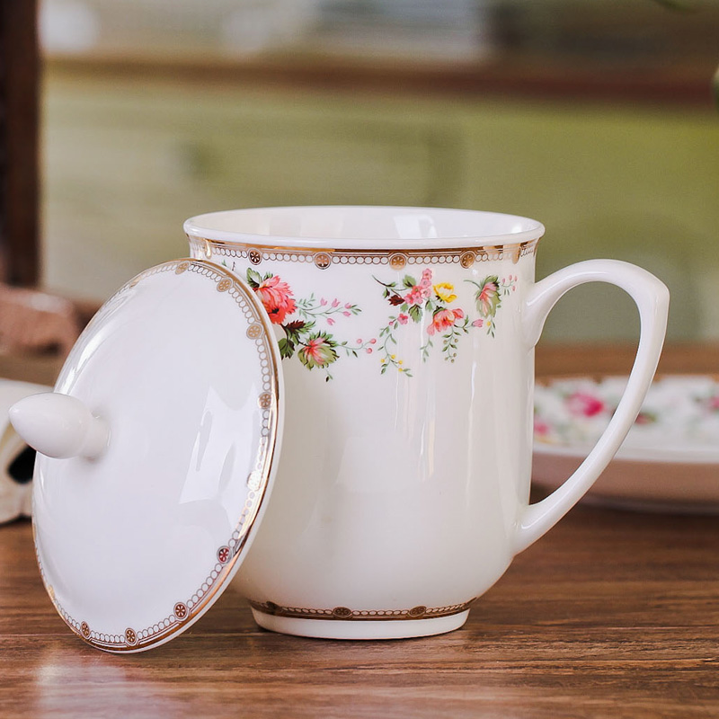Jingdezhen ceramic cup of ipads porcelain cup, office cup with cover cup cup zhongnanhai cups and saucers suit to send gifts