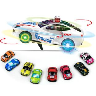 电动仿真警车汽车360度旋转特技开门耐摔宝宝男孩儿童玩具车模型