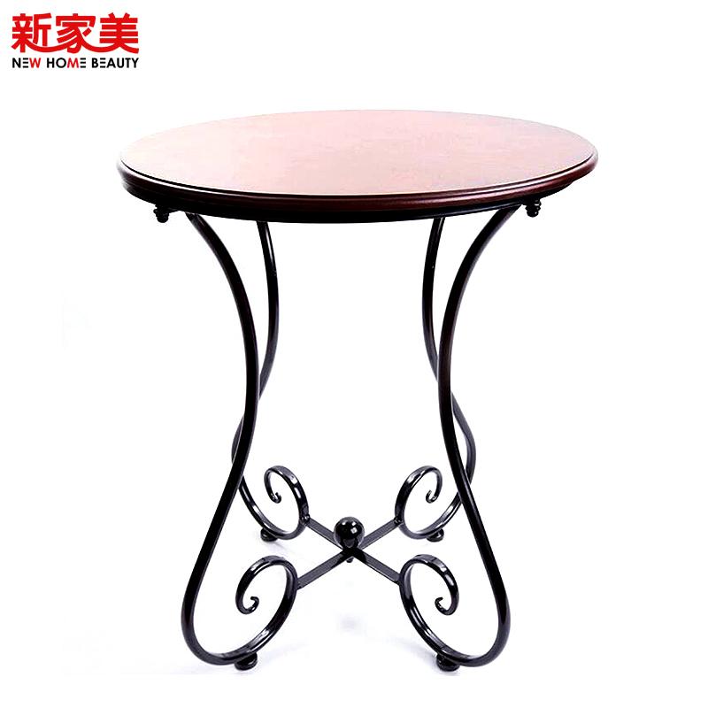 【新家美官网】欧式铁艺实木咖啡桌阳台休闲小圆桌