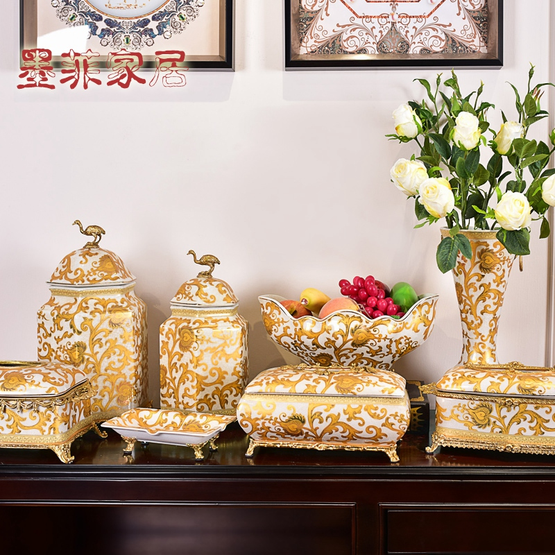 American creative furnishing articles new Chinese ceramics with general copper pot sitting room of TV ark, wine porch decoration decoration