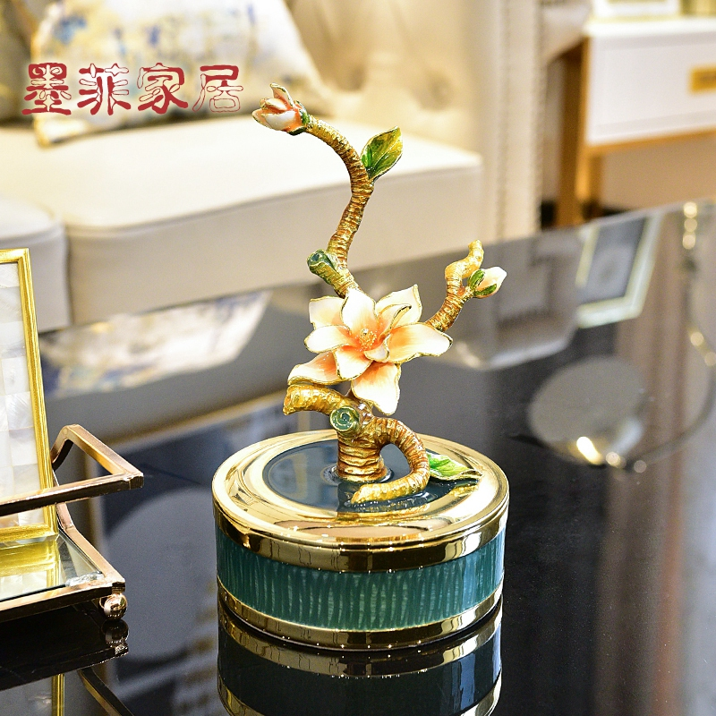 Enamel high - end key-2 luxury furnishing articles household act the role ofing is tasted European jewelry box sitting room adornment Enamel porcelain handicraft decoration