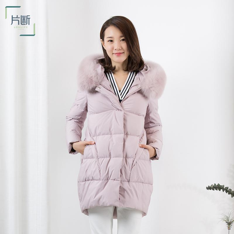 片斷2018秋冬新款繭型前短后長連帽羽絨服大毛領純色鴨絨保暖外套