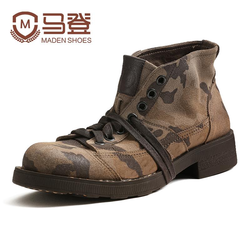 马丁靴男鞋秋季潮鞋2018新款短靴英伦风中帮靴子真皮高帮迷彩军靴