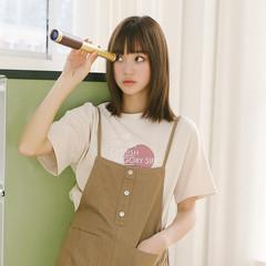 实拍 韩版chic宽松显瘦学院百搭字母几何印花短袖女夏圆领T恤上衣