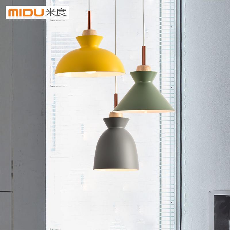 米度北欧现代简约三头餐厅灯具马卡龙彩色创意吧台卧室咖啡厅吊灯