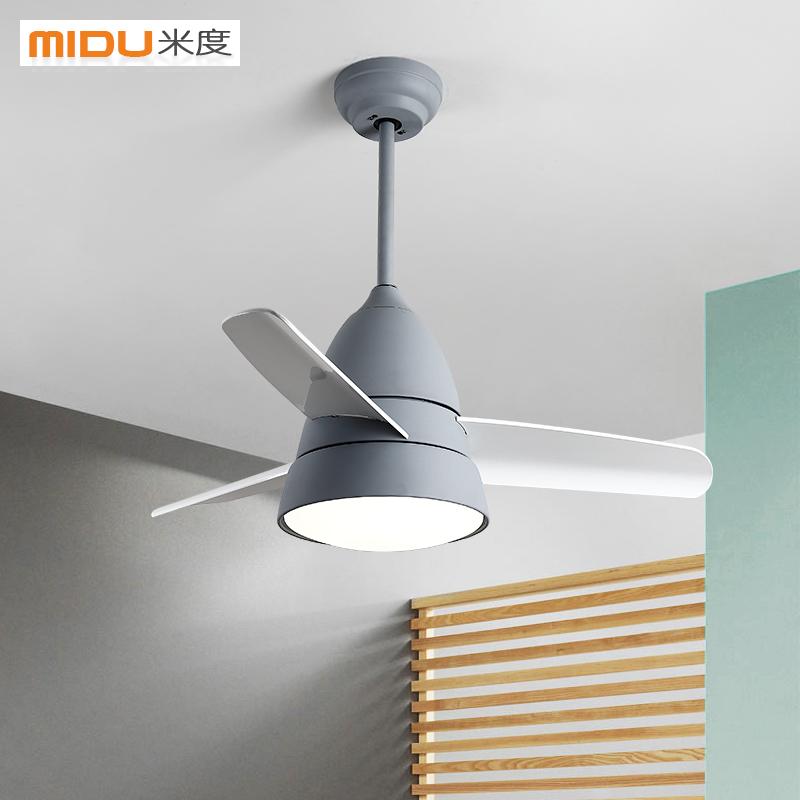 北欧吊扇灯现代简约带电风扇吊灯时尚餐饭厅客厅遥控家用LED灯具