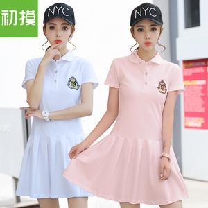 运动裙子女夏韩版中长款学生休闲纯棉POLO衫显瘦T恤保罗连衣裙