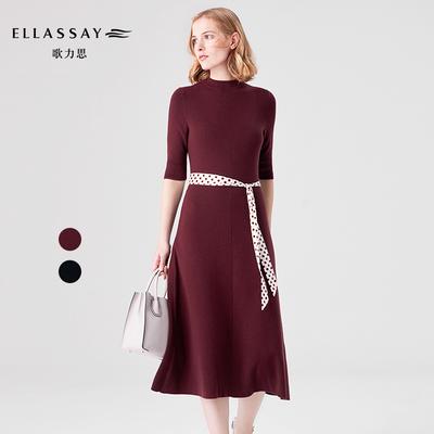 ELLASSAY歌力思2018春夏新款 显瘦山羊绒针织连衣裙女长裙