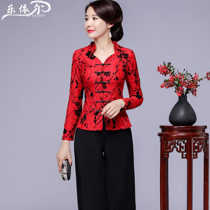 秋冬加绒蕾丝唐装旗袍上衣改良时尚中式婆婆妈妈装结婚宴短款套装