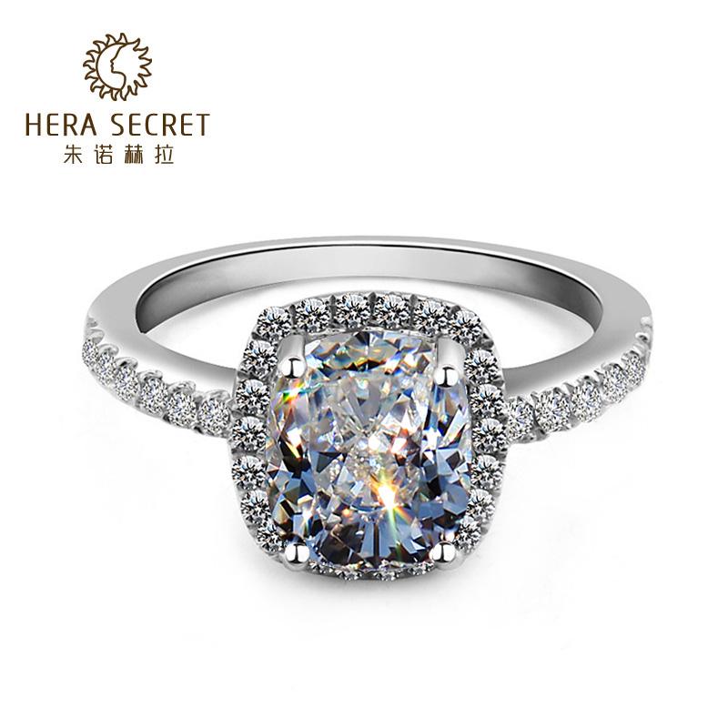 奢华HERA方形钻戒女王范2克拉仿真钻石戒指 镀金指环白黄情侣钻戒