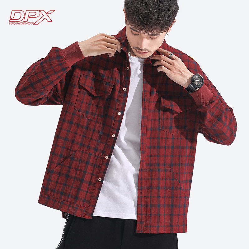 秋季嘻哈街头潮男红色格子长袖衬衫学生情侣宽松休闲衬衣DPX上衣