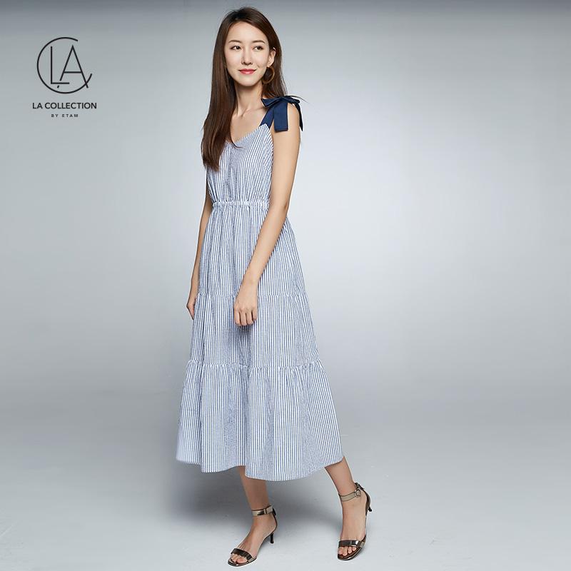 艾格LA条纹超长款吊带连衣裙女8E012207386