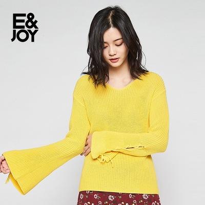 艾格E&joy喇叭袖修身纯色V领套头针织衫女8E0817007